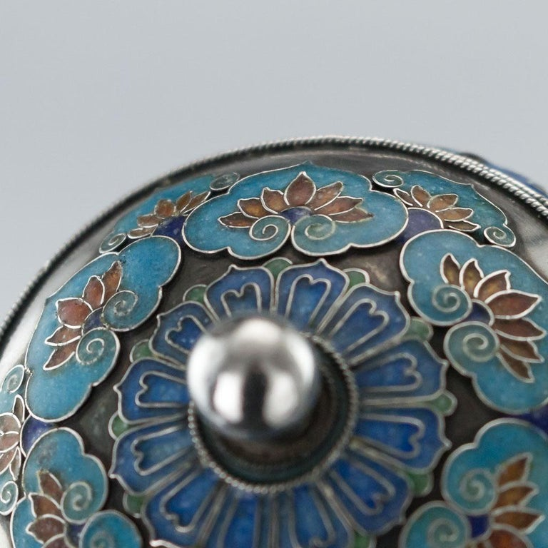 19th Century Rare Chinese Export Solid Silver and Enamel Pot, circa 1880 For Sale 7