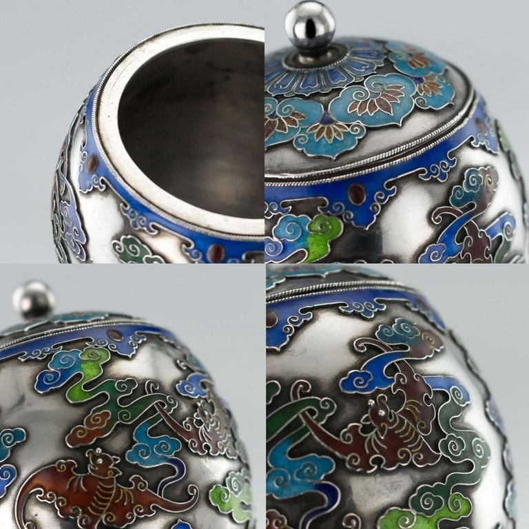 19th Century Rare Chinese Export Solid Silver and Enamel Pot, circa 1880 For Sale 9