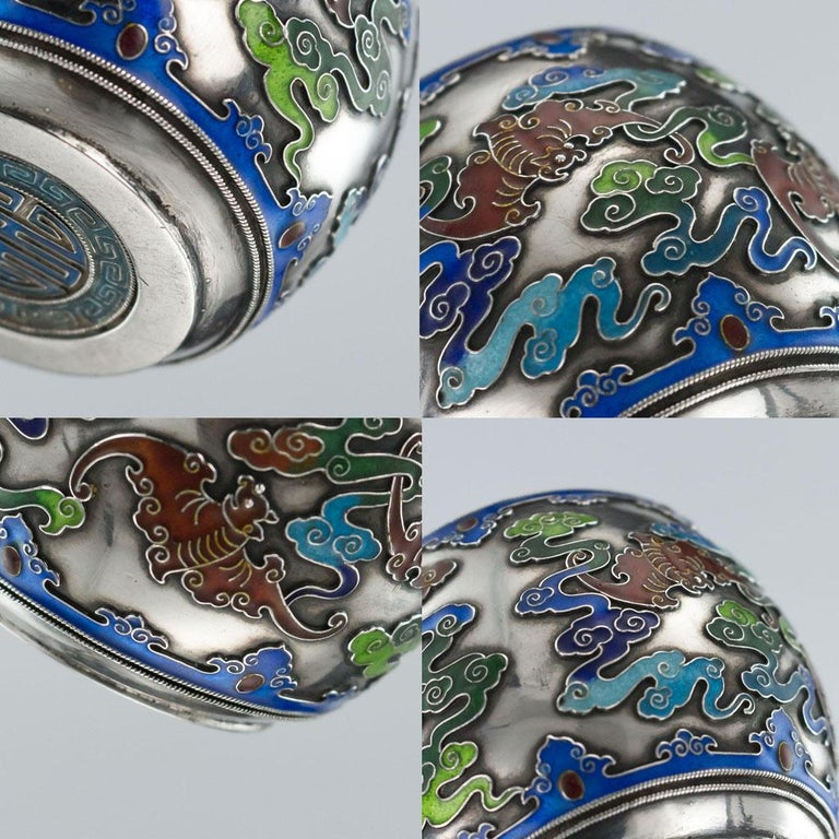 19th Century Rare Chinese Export Solid Silver and Enamel Pot, circa 1880 For Sale 11