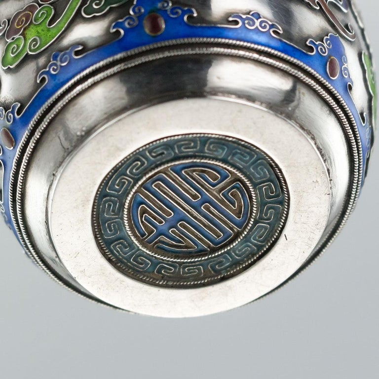 19th Century Rare Chinese Export Solid Silver and Enamel Pot, circa 1880 For Sale 12