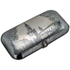 19th Century Russian Solid Silver and Niello Cigarette Case, Moscow, circa 1880