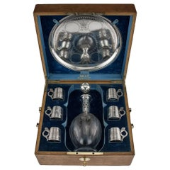Antique Russian Eight-Piece Solid Silver and Glass Vodka Set, circa 1880