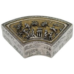Antique Rare Chinese Kangxi Period Solid Silver-Gilt Fan-Shaped Box, circa 1700