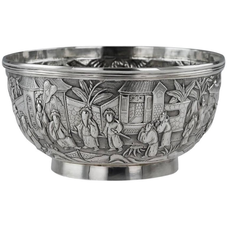 Antique 19th Century Chinese Export Solid Silver Bowl, Wang Hing, circa 1880