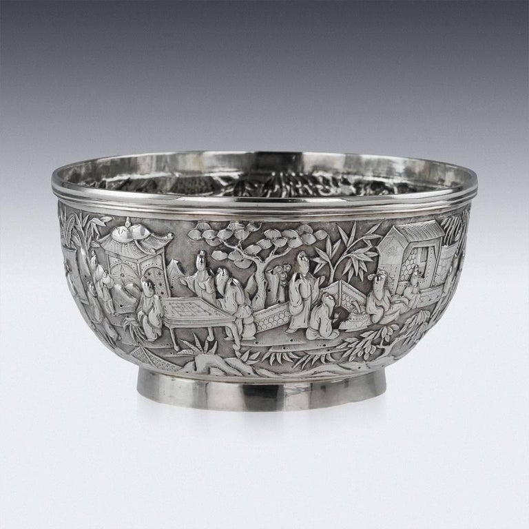 Description Antique 19th century Chinese export solid silver bowl, exceptionally fine quality, traditional form, fully chased and embossed with a dense scene of receptions before nobility, the top rim applied with a reeded band, standing on a plain