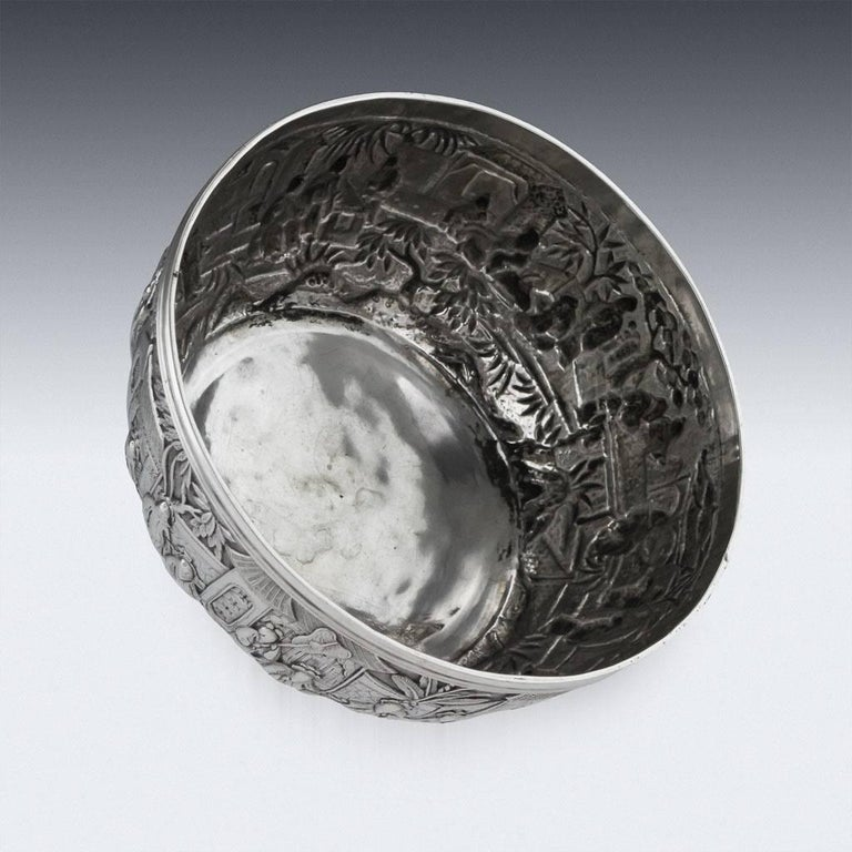 Antique 19th Century Chinese Export Solid Silver Bowl, Wang Hing, circa 1880 In Excellent Condition For Sale In London, GB