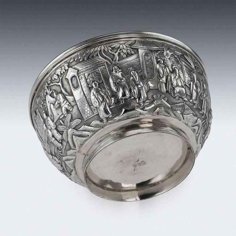 Antique 19th Century Chinese Export Solid Silver Bowl, Wang Hing, circa 1880 For Sale 1