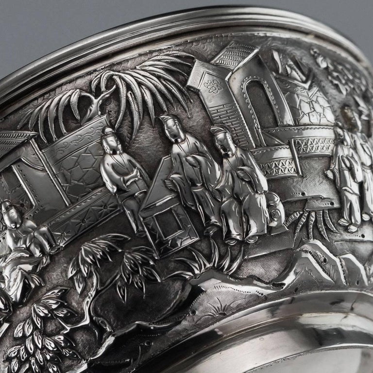 Antique 19th Century Chinese Export Solid Silver Bowl, Wang Hing, circa 1880 For Sale 2
