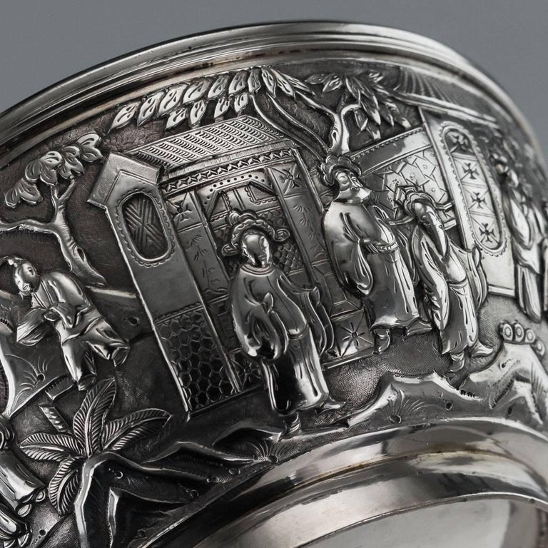 Antique 19th Century Chinese Export Solid Silver Bowl, Wang Hing, circa 1880 For Sale 3