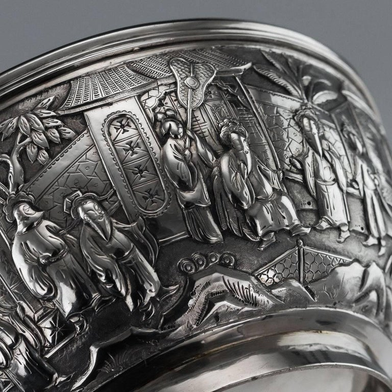 Antique 19th Century Chinese Export Solid Silver Bowl, Wang Hing, circa 1880 For Sale 4