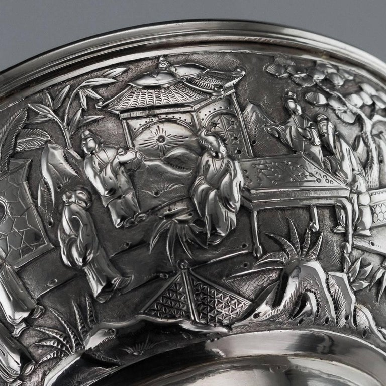 Antique 19th Century Chinese Export Solid Silver Bowl, Wang Hing, circa 1880 For Sale 5