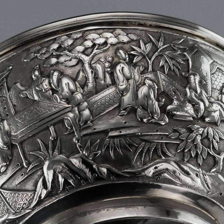 Antique 19th Century Chinese Export Solid Silver Bowl, Wang Hing, circa 1880 For Sale 6