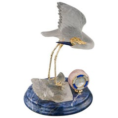 Frohmann 18-Karat Gold, Rock Crystal, Gem Bird Statue and Clock, circa 1980