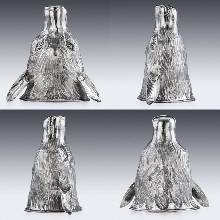 Antique early 19th century Georgian solid silver stirrup cup, beautifully modelled as a snarling fox's mask, realistically chased with fur. Georgian stirrup cups modelled as foxes are extremely rare and sought after.  Hallmarked English silver