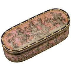 Antique 19th Century German & Hand Painted Enamel Snuff Box, Hanau, circa 1820