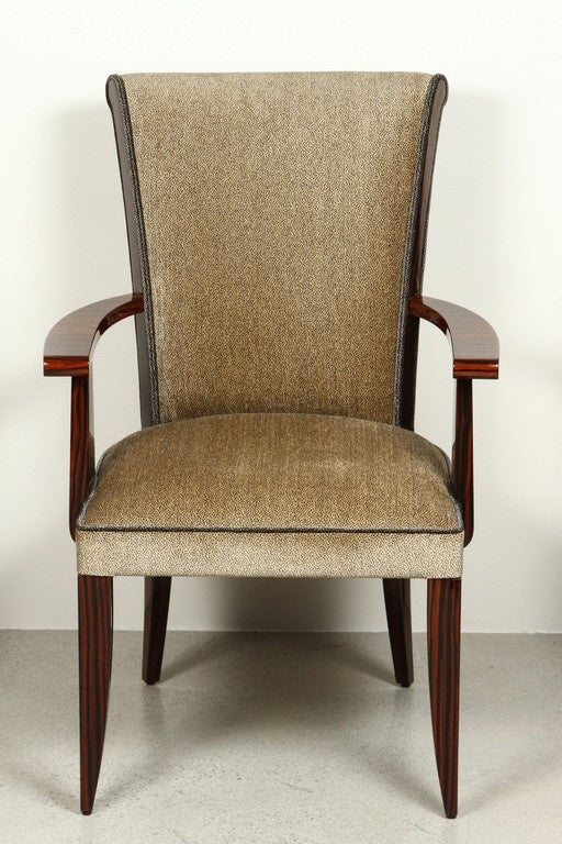 Art Deco Style High Back Dining Chair With Arms In
