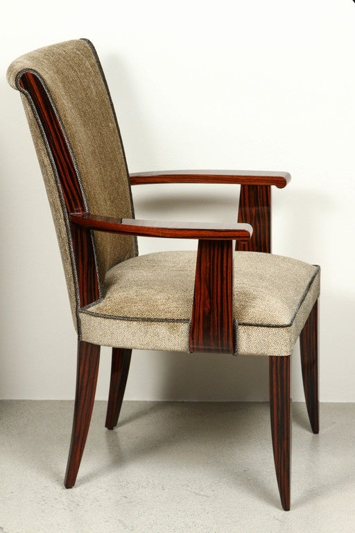 Art Deco Style High Back Dining Chair With Arms In Macassar For Sale At 1stdibs