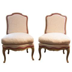 Pair of Vintage French Louis XV-Style Slipper Chairs