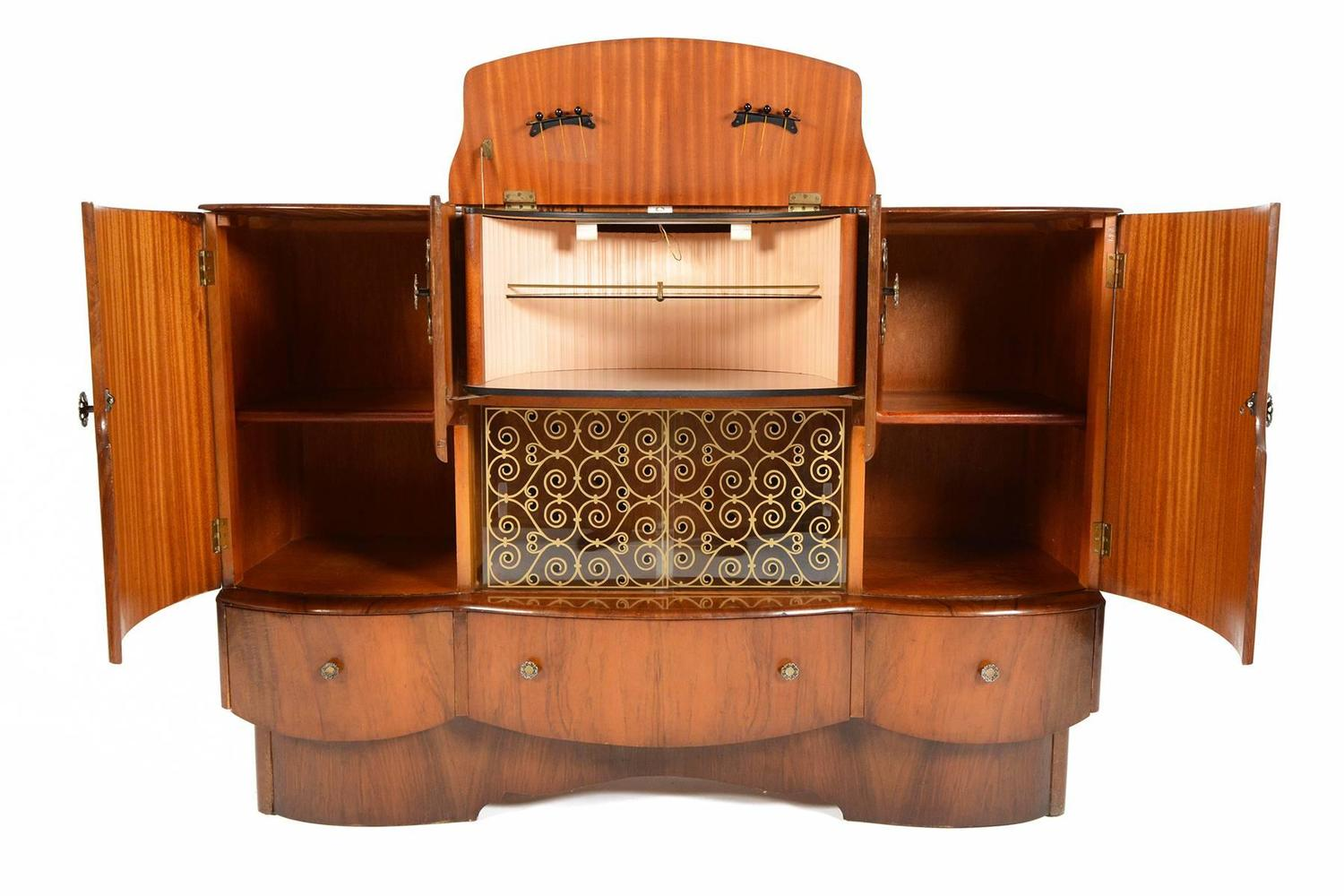 Beautility Art Deco Bar In Elm At 1stdibs