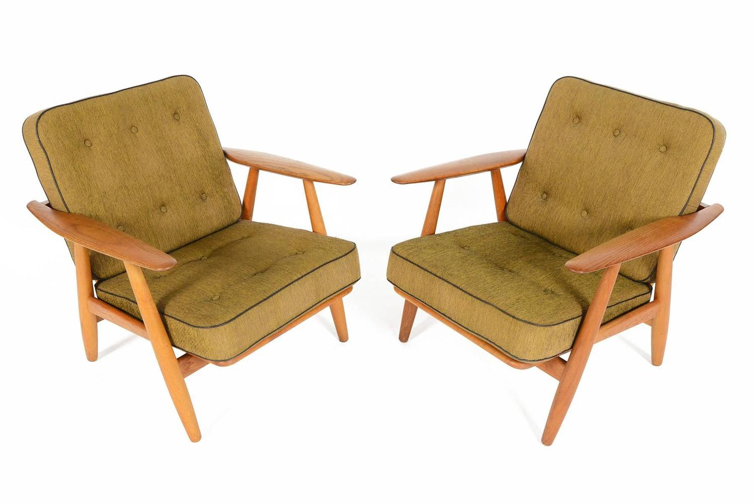 Pair of Hans Wegner Oak Cigar Arm Lounge Chair at 1stdibs