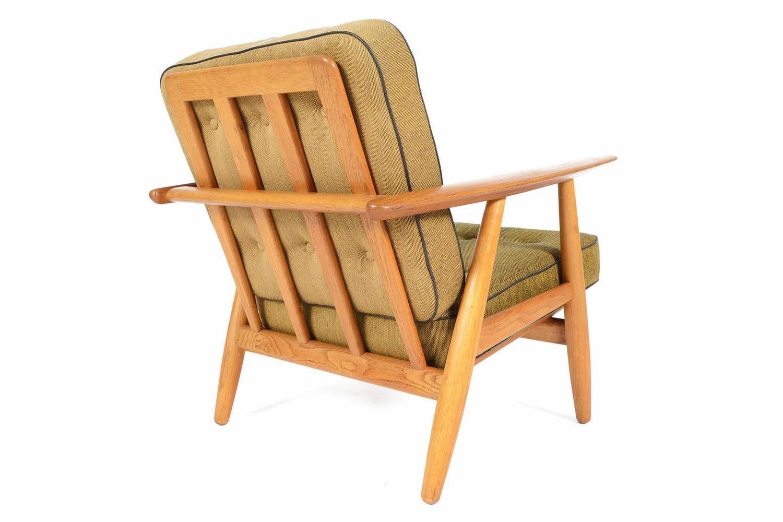 Pair of Hans Wegner Oak Cigar Arm Lounge Chair at 1stdibs