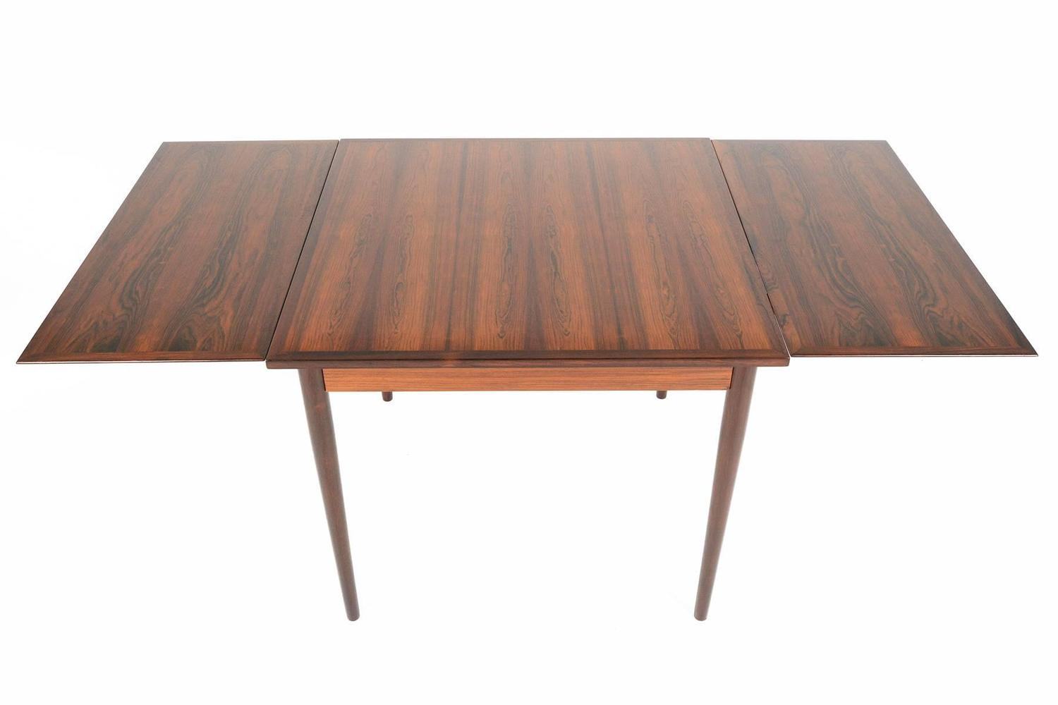 Brazilian Rosewood Square Draw Leaf Dining Table For Sale