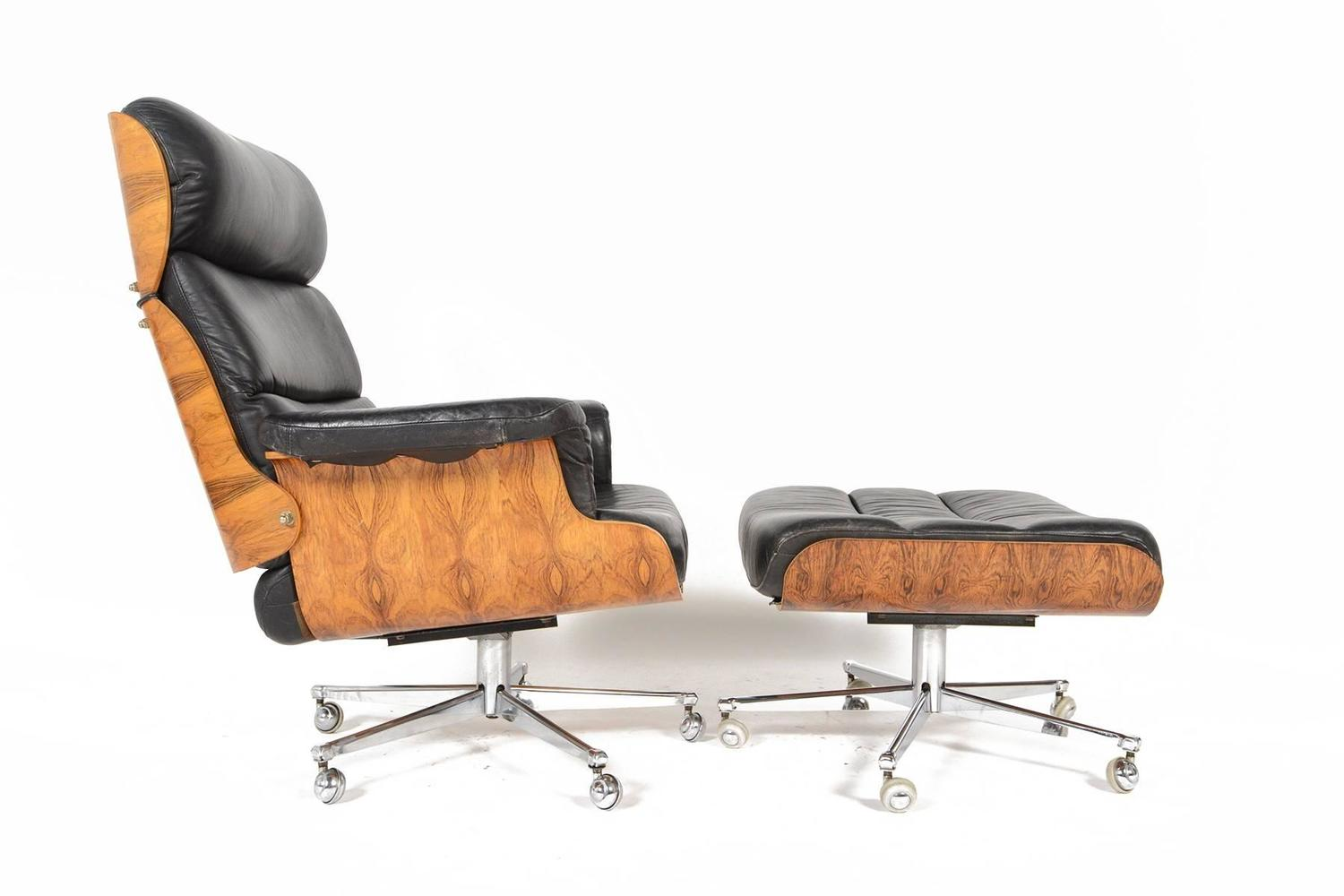 martin stoll rosewood and leather swivel chair with ottoman at 1stdibs