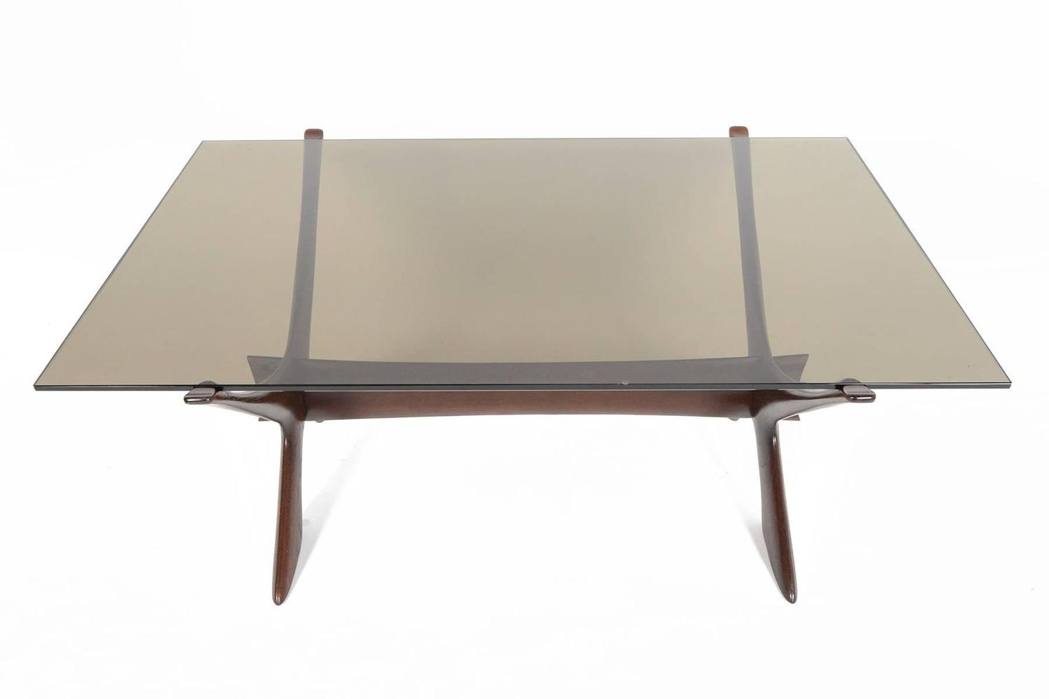 Fredrik Schriever Abeln Condor Coffee Table In Stained Teak And Glass For Sale At 1stdibs