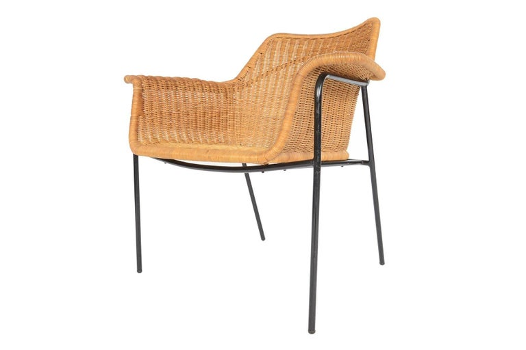 danish modern wicker and iron lounge chair for sale at 1stdibs