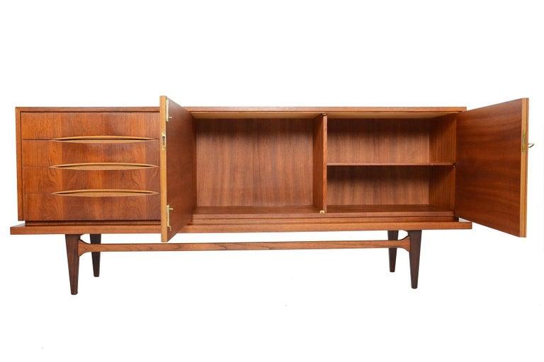 german modern teak bow tie drawer credenza for sale at 1stdibs. Black Bedroom Furniture Sets. Home Design Ideas