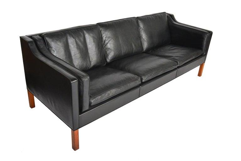 Scandinavian Modern Borge Mogensen Model 2213 Black Leather Sofa #2 For Sale