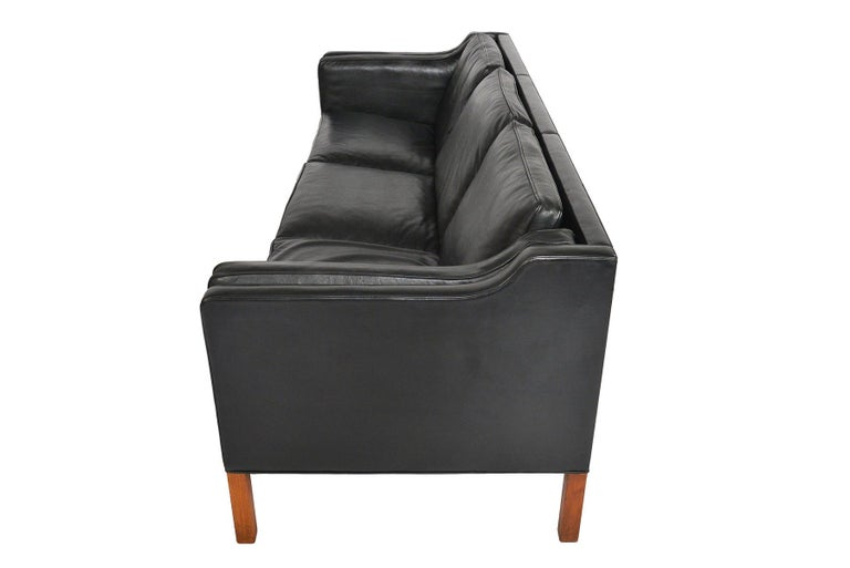 20th Century Borge Mogensen Model 2213 Black Leather Sofa #2 For Sale
