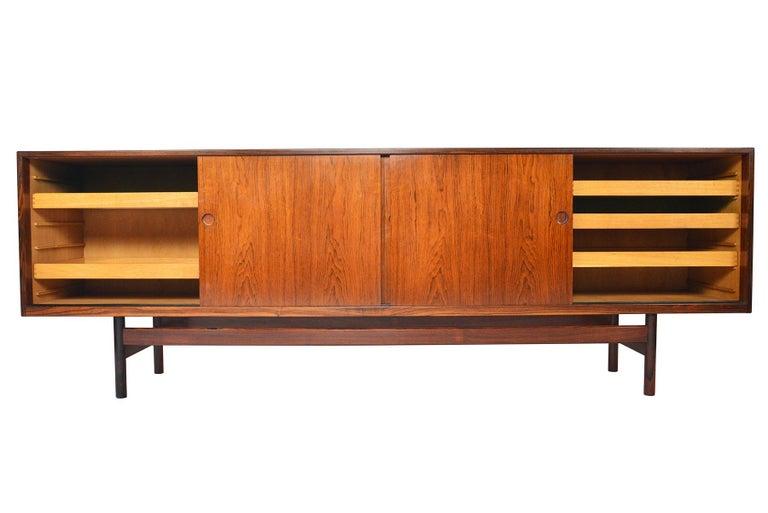 Scandinavian Modern Long Danish Modern Ib Kofod- Larsen Rosewood Credenza For Sale