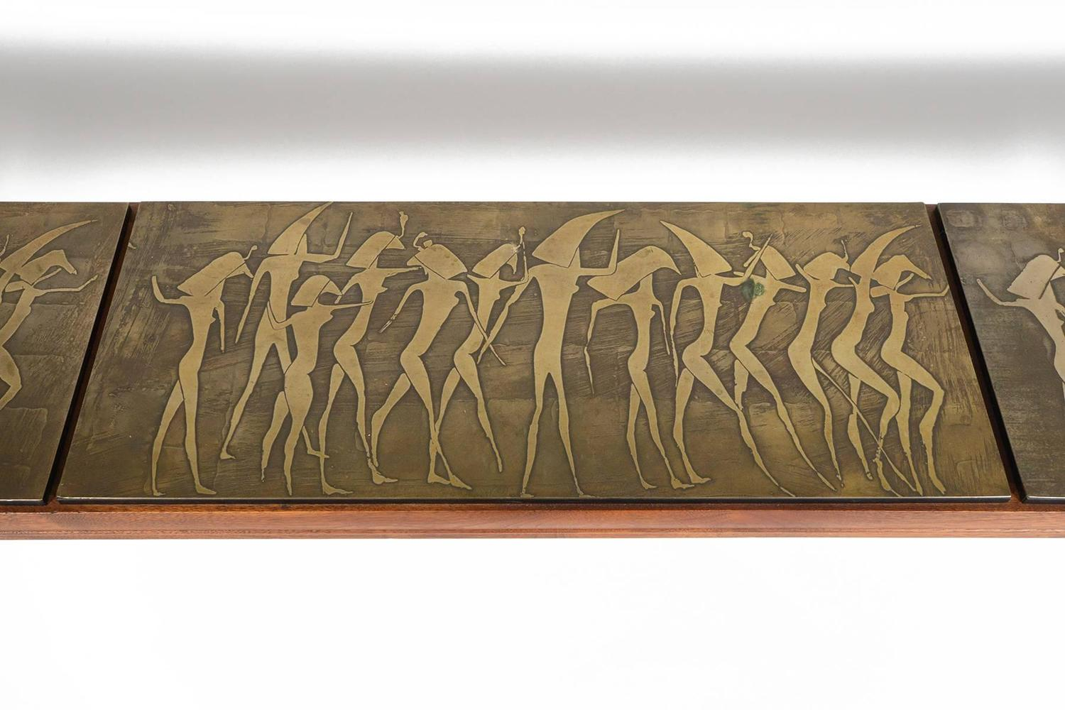 Metropolitan Egyptian Relief Walnut Console Table At 1stdibs