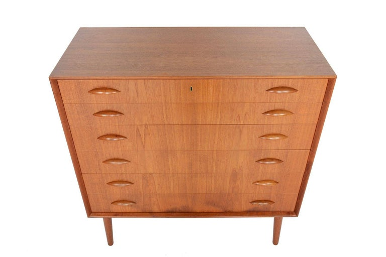 Mid-Century Modern Johannes Sorth for Nexo Wide Teak Danish Modern Midcentury Dresser
