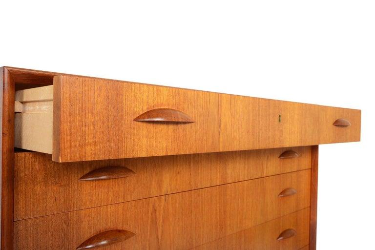 Johannes Sorth for Nexo Wide Teak Danish Modern Midcentury Dresser 1