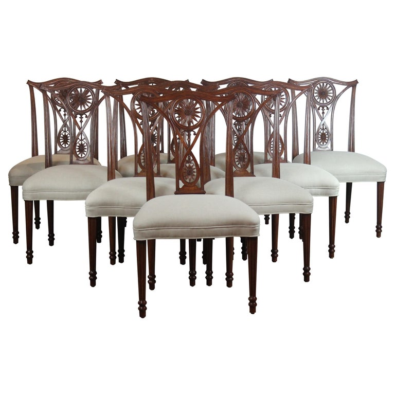 Set of 10 Dining Chairs For Sale
