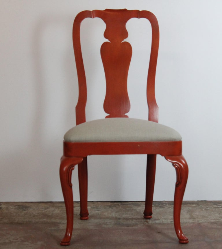 Set of six Queen Ann style dining chairs by Kindel. Upholstered in linen. Measures: Armchair 23.50
