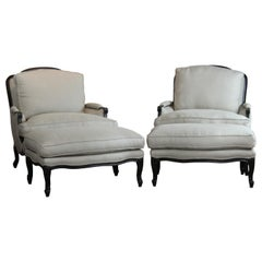 Pair of Bergère Chairs and Ottoman