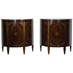 Pair of Sheraton Style Demilune Commode
