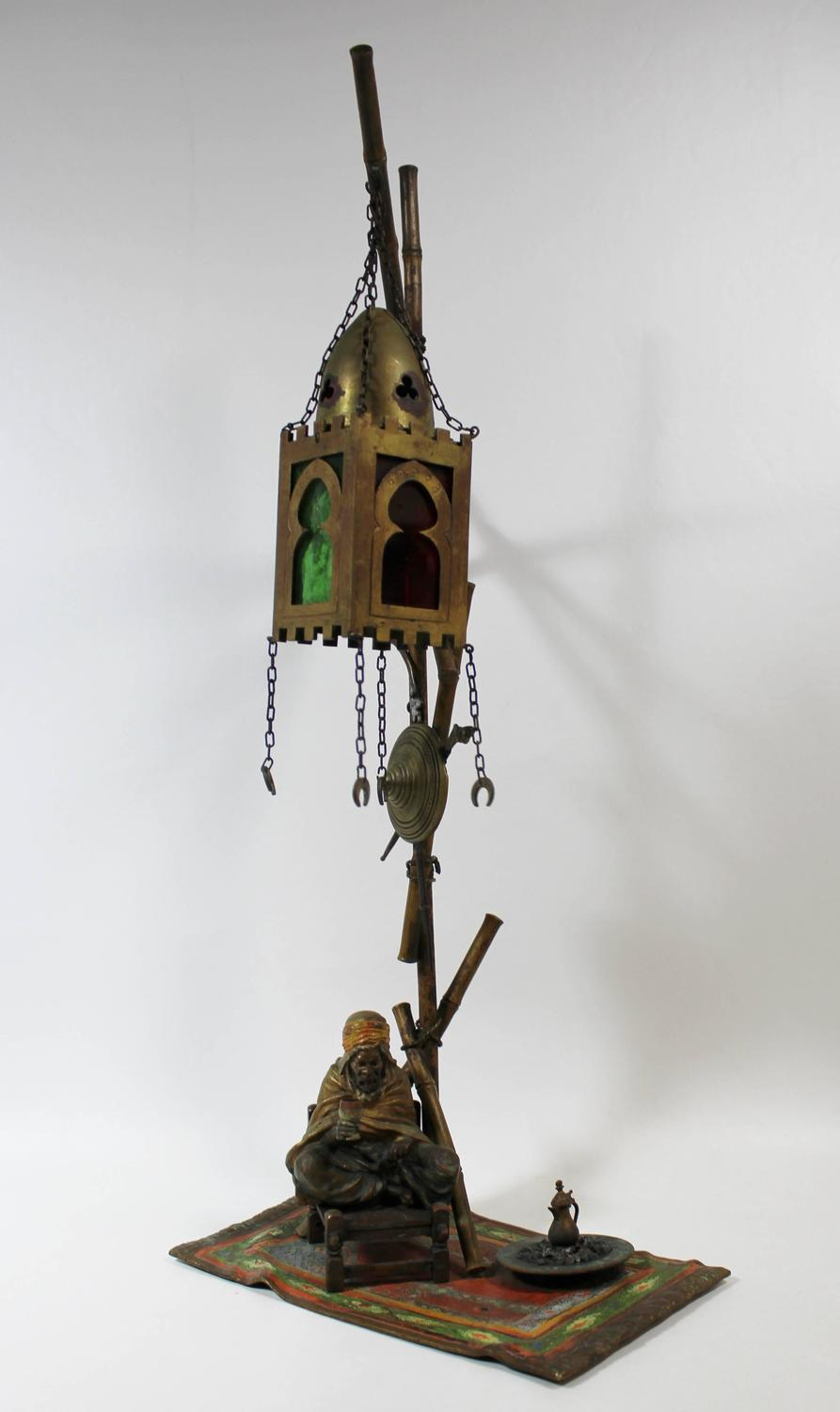 Franz Bergmann Lamp Cold Painted Vienna Bronze With Arab