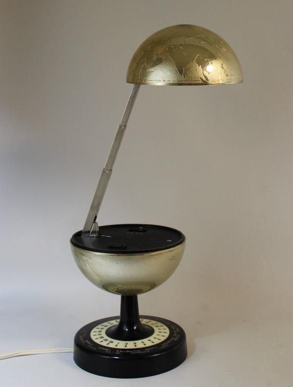 Mid Century Modern Articulating World Globe Lamp. Made By Universal Lamp  Co.,