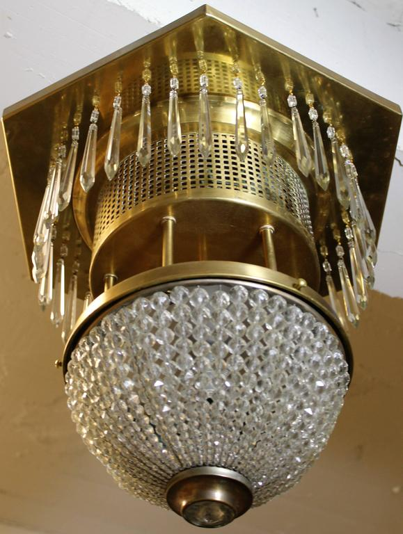 Custom Made Crystal And Brass Ceiling Mount Light Fixture