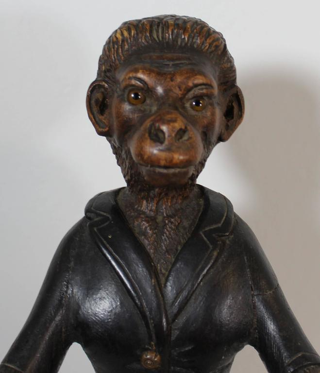 19th century Black Forest carved monkey sculpture.