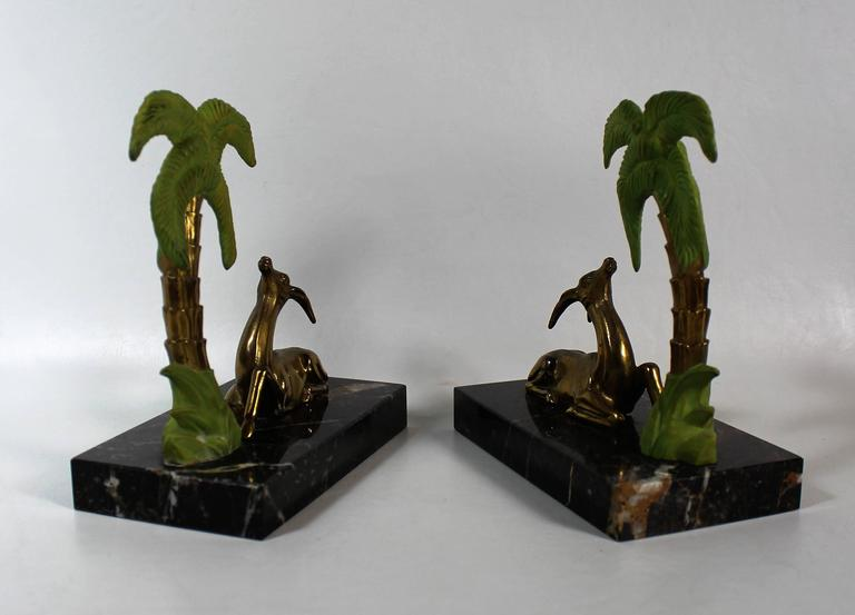French Art Deco Antelope Bookends In Good Condition For Sale In Hamilton, Ontario
