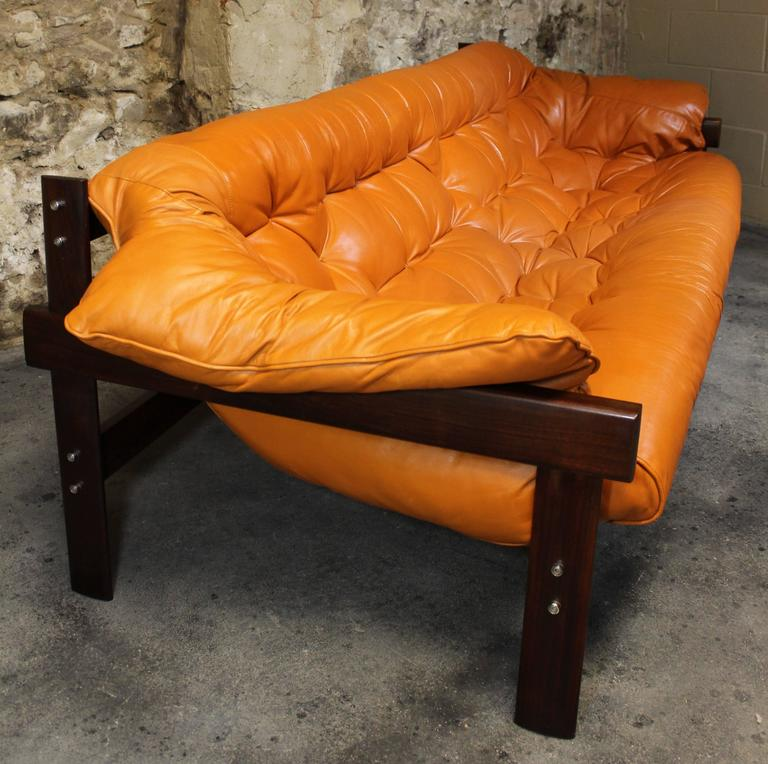 Percival Lafer Rosewood And Distressed Tufted Yellow: Percival Lafer Brazilian Jacaranda And Leather Sofa At 1stdibs