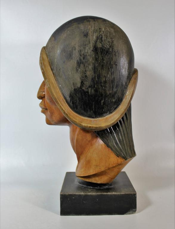 Bolivian 19th Century Native Yampara Carved Wood Bust/Sculpture For Sale