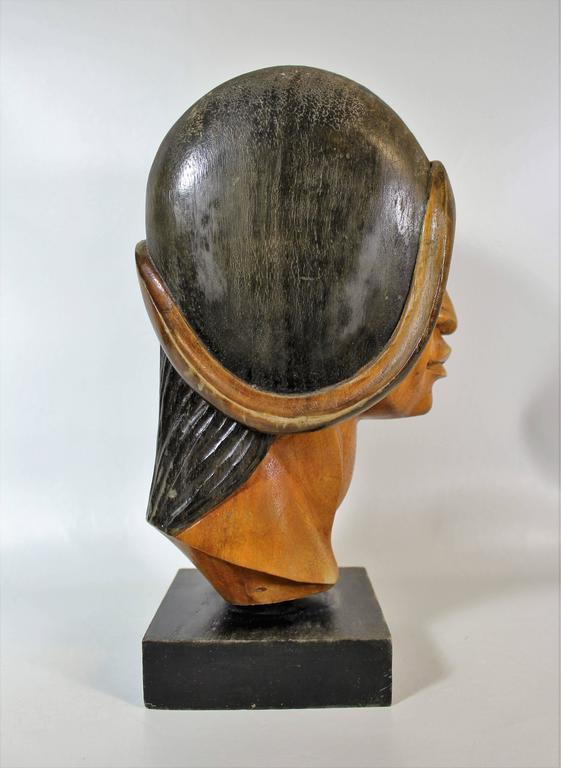 Native American 19th Century Native Yampara Carved Wood Bust/Sculpture For Sale