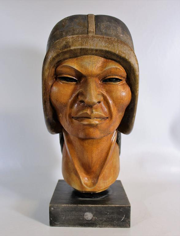 19th century native Yampara carved wood bust/sculpture.