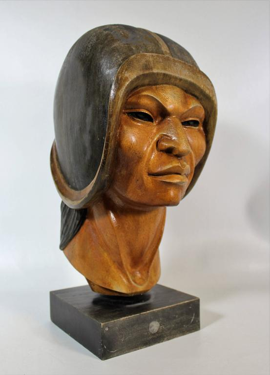 19th Century Native Yampara Carved Wood Bust/Sculpture For Sale 1
